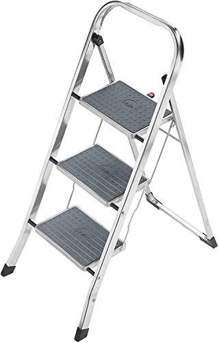 Hailo K60 StandardLine, Alu-Trittleiter, 3 Stufen, Klappsicherung, besonders leicht, einfach zu verstauen, belastbar bis 150 kg, silber, 4393-801