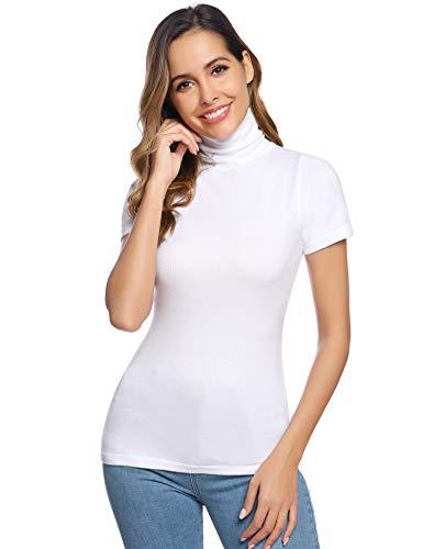 Abollria Camisetas Mangas Cortas Jersey Cuello Alto Suéter Elegantes para Mujer Basic Shirts y Tops de Punto para Primavera Otoño Invierno