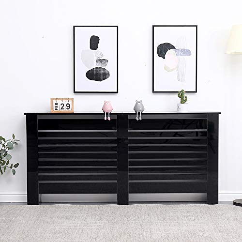 HOME MODERN Wooden Radiator Cover High Gloss Black Display Shelf Decoration Cabinet Table,X-Large 172x19x85 cm,Living Room
