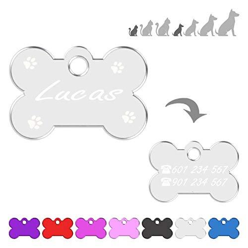 Hueso para Mascotas Muy pequeñas Grabado con Patas Placa Chapa Medalla de identificación Personalizada para Collar Perro Gato Mascota grabada (Plateado)