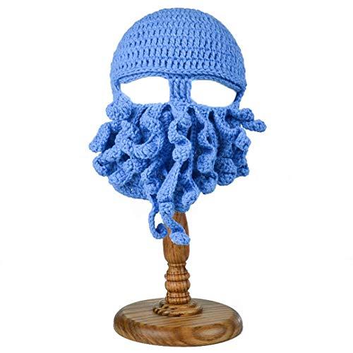 Handgemachte lustige Tentakel Octopus Hut häkeln Cthulhu Bart Mütze Männer Frauen Stricken Wind Maske Caps Halloween Tier Geschenk Hut Blue