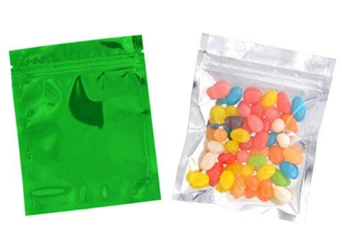 100PCS 4in x 5in Self Sealing Mylar Foil Flat Bag Sample Zipper Pouch Food Snack Storage Coffee Bean Candy Tea Powder Seal Grip Wrapper Gift Basket Supplies Xmas Gift Bag (Green)