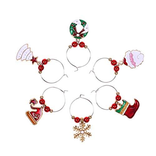 Macabolo - Confezione da 6 anelli decorativi in metallo per calici da vino, decorazione per feste, Capodanno 4 Colori assortiti