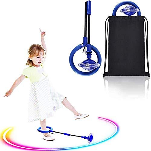 Boyigog Blinkender Springring Fußkreisel Kinder Faltbare Glühender Springender Ball mit Tragetasche, Sprungball Fettverbrennungsspiel für Kinder und Erwachsene (Blau)