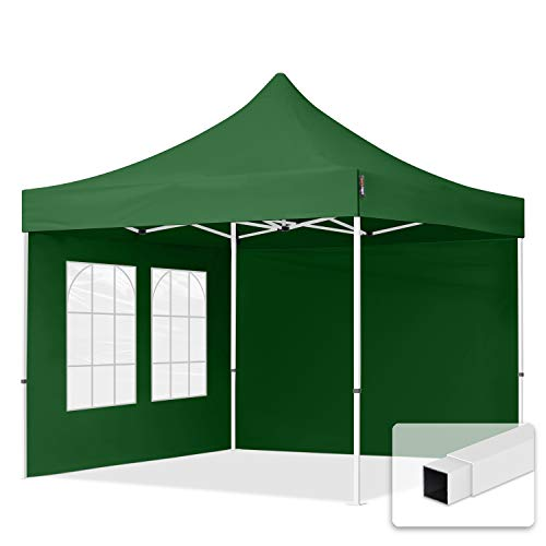 TOOLPORT 3x3m Pavillon Faltpavillon Klappzelt inkl. 2 Seitenteile Stahl Faltzelt Garten Partyzelt grün