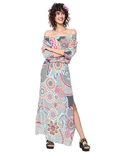 Desigual Damen Dress 3/4 Sleeve DERA Woman White Kleid, Weiß (Blanco 1000), 42