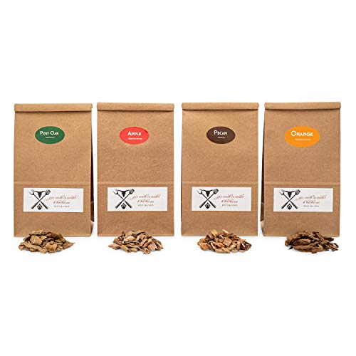 Jax Smok'in Tinder Premium BBQ Wood Chips for Smokers Variety Pack - Our Most Popular Medium Sized Smoker Chips - Apple, Post Oak, Orange and Pecan Packed in 2.90 Liter Paper Bags
