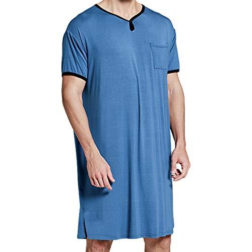 Herren-Schlafanzug, Baumwoll-Mischgewebe, kurze Ärmel, V-Ausschnitt, bequem, weich,...