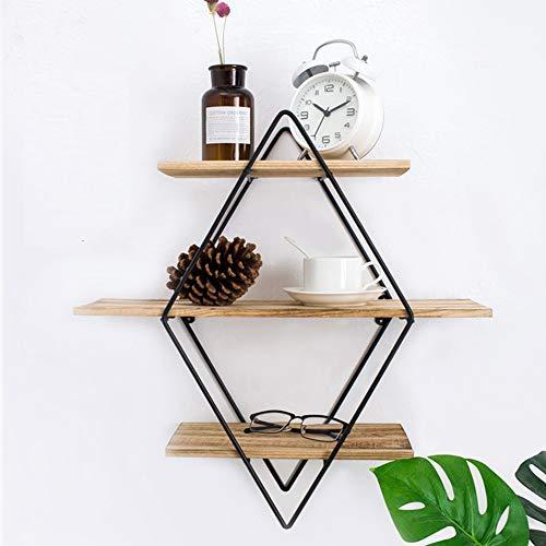 Estantería de pared de madera y metal, práctica estanterí