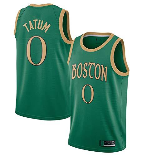 DECORATZ Celtics Jayson Tatum # 0 Jugendtrikot, schnell trocknende schweißabsorbierende Herren-Basketballweste aus Polyester-greenA-M