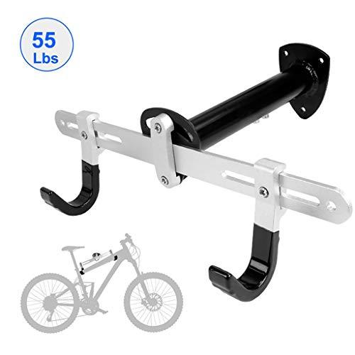 Fahrradständer Fahrradwandträger - Horizontale Fahrradaufbewahrungshalterung für Garagen oder Privathaushalte - Halterung für Straßen- oder Mountainbikes - 55 Pfund - einstellbare Länge und Breite