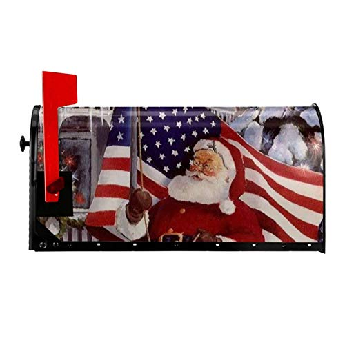 Marquezin Santa with USA Flag Christmas Mailbox Covers Magnetic Mail Wraps Cover Letter Post Box 25.5x21 in