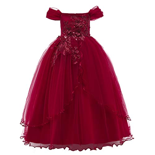 Kids Girl Off Shoulder Embroidery Flower Tulle Lace Long A Line Pageant Dress Wedding Birthday Party Floor Length First Communion Formal Princess Prom Holiday Dance Maxi Ball Gown Red 5-6