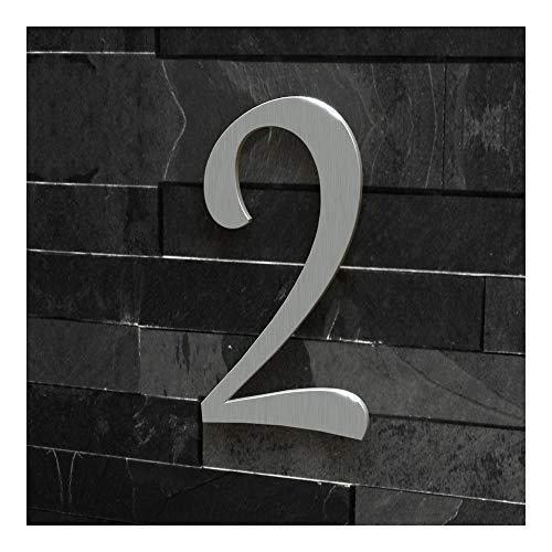 Colours-Manufaktur Hausnummer Nr. 2 - Schriftart: Klassisch - Höhe: 20-30 cm - viele Farben wählbar (Edelstahl (gebürstet), 20 cm)