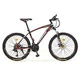 Vélo tout terrain 26 pouces pour hommes et femmes, vélo tout terrain 30 vitesses pour adultes avec fourche à suspension verrouillable, vélo de route de ville avec double frein à disq(Color:Noir rouge)