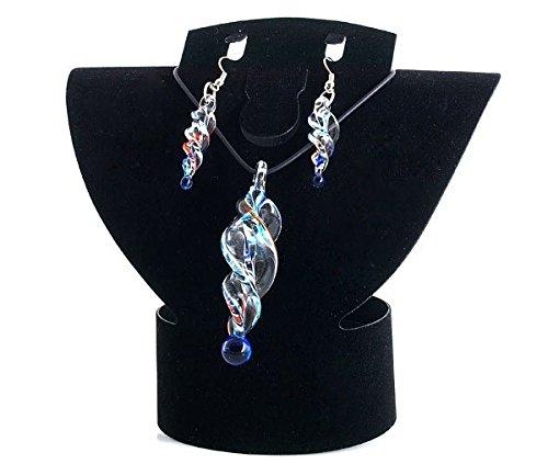 Ecloud Shop Conjunto Collar Cadena Pendientes Largo Cristal de Murano Moda