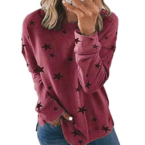 Treer Sudadera de Manga Larga Cuello Redondo para Mujer - Talla Grande Sweatshirt Cuello Redondo Tops Estrella Casual Pullover Camiseta para Primavera Otoño e Invierno (Vino Estrella Tinto,S)
