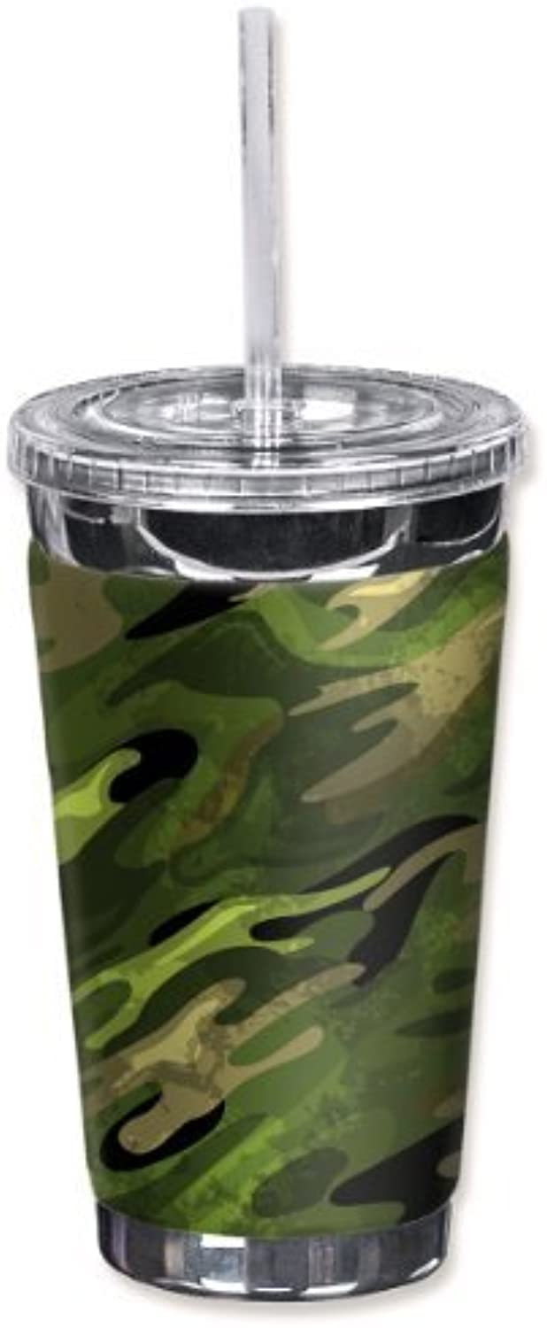 Mugzie 980-TGC  vert Camouflage  To Go Tumbler with Insulated Wetsuit Cover, 16 oz, noir by Mugzie