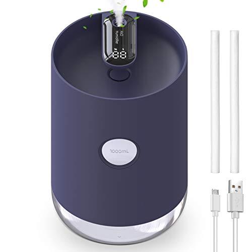 Luftbefeuchter 1000 ml,Ultraschall Luftbefeuchter Schlafzimmer USB Air Humidifier Ultra Leise automatische Abschaltung mit Nachtlicht (BlackHumi)