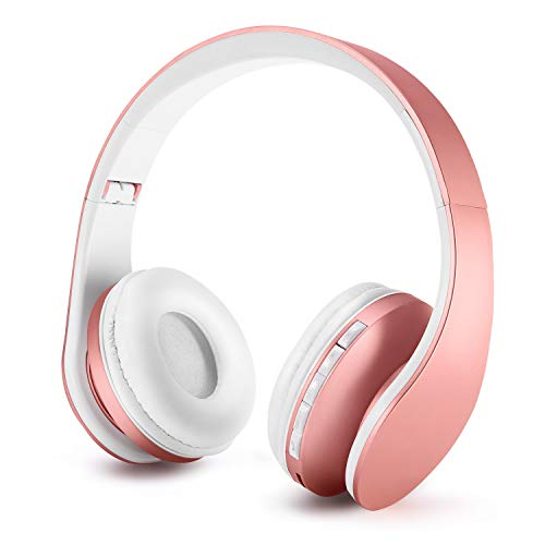 Auriculares Bluetooth para niños, Auriculares Plegable para niños con Volumen Limitado, niñas y niños, Auriculares Ajustable y Plegable con micrófono-Rosa Oro