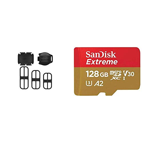 Garmin 010-12845-00 Accesorio para Bicicleta Sensor de Velocidad/cadencia + SanDisk Extreme - Tarjeta de Memoria microSDXC de 128GB con Adaptador SD, A2, hasta 160MB/s, Class 10, U3 y V30