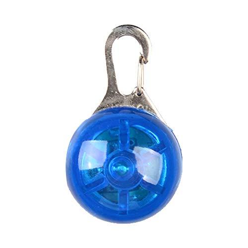 mi ji Creativa para Mascotas Circular Colgante Collar de Perro práctica Multi luz LED Uso Perro de la Seguridad Llavero Azul para Mascotas