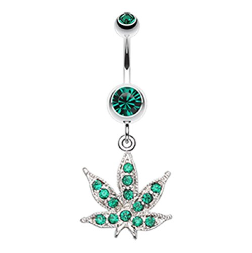 """Marijuana Leaf Sparkle 316L Surgical Steel Freedom Fashion Belly Button Ring (Sold by Piece) (14GA, 3/8"""", Green)"""