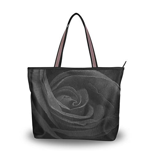 Handbags Purse Shopping for Women Girls Ladies Student Tote Bag Black Rose Flower Shoulder Bags Light Weight Strap