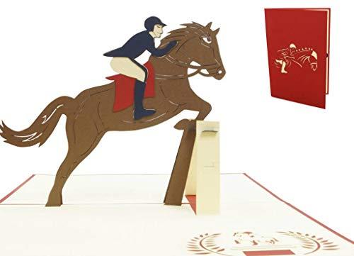 LIN17510, POP- UP Karten Sport, POP UP Karten Geburtstag, 3D Grußkarten Klappkarte Karte Pferde Einladungskarte für Pferdeliebhaber, Geburtstagskarte, Pferd, Reiter, N273