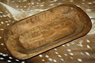 (NEW Brackets) Carved Wooden Dough Bowl Primitive Wood Trencher Tray Rustic Home Decor 22 inch