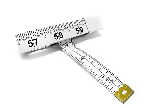 Perfect Measuring Tape - Fraction Tape Measure, All-Purpose 60 Inch Tape Measure - Double Sided Fractional Inches and Millimeter/Centimeter Tape Measure TR-16-frac (60 inch White)
