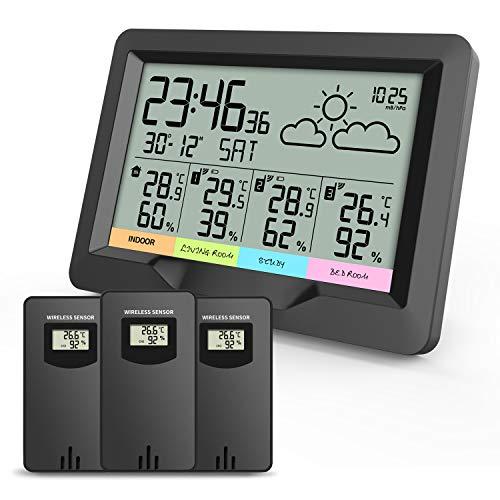 Oule GmbH Funk Wetterstation mit DREI Außensensoren, Thermometer, Hygrometer, Funkwecker, Luftfeuchtigkeit, RCC, DCF, Dual-Wecker, alle Sensoren gegen spritzwassergeschützt