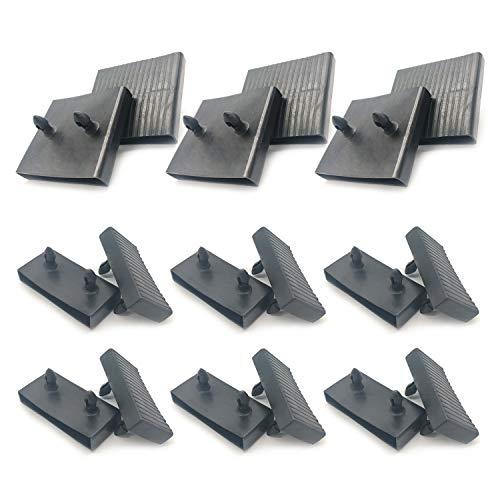 6 soportes para tapas de somier para somier (63 mm x 9 mm), 12 soportes laterales para listones de cama de plástico de repuesto, para camas individuales y dobles, accesorios de conector (negro)