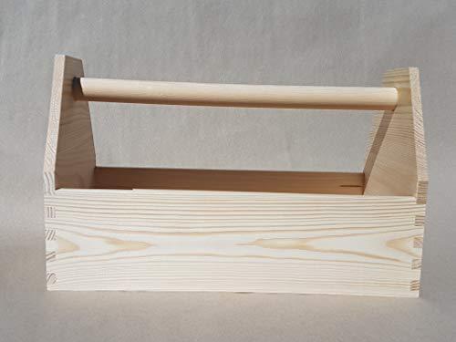 Werkzeugkiste Montagekiste geleimt, Natur belassen LxBxH 42x21x26 cm, Vollholz