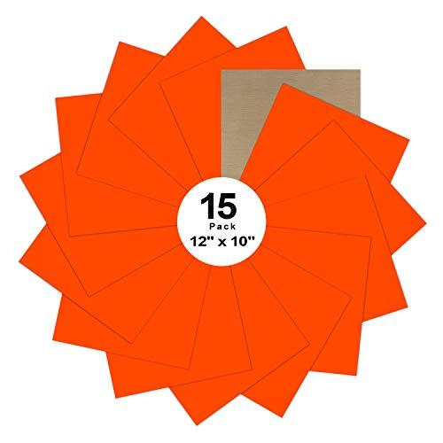 "Fluorescent Orange Heat Transfer Vinyl Bundle : 15 Pack 12"" x 10"" Sheets - Iron on Vinyl for DIY Iron on Fabrics T-Shirts Heat Press Machine"