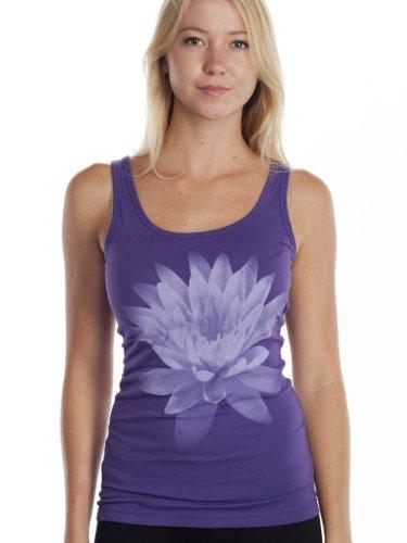 Super Buddha Women's'Lotus Flower - Om Shanti' Sheer Jersey Tank Top, Deep Purple, Large