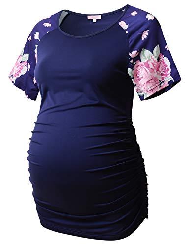 Bhome Umstands-T-Shirt, Baseball-Shirt, Rundhalsausschnitt, Raglan-Stil, kurzärmelig, Schwangerschaft - mehrfarbig - X-Groß