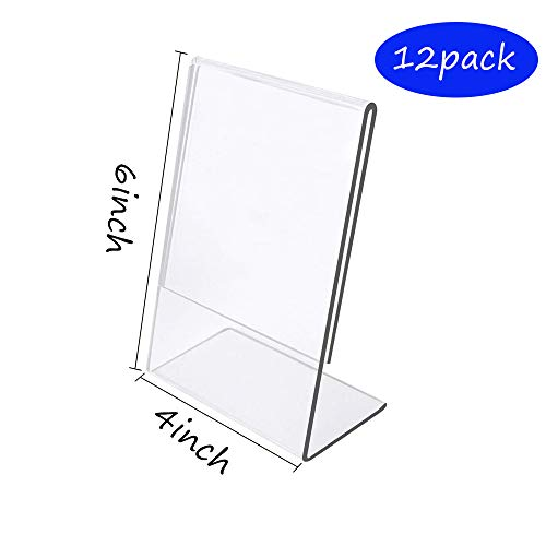 Acrylic Sign Holder 4x6, 4 x 6 inch L Slanted Back Clear Acrylic Table Stand Holder,12 Pack of 4x6 Plexi Sign Holder,Plastic Table Number Signs Fame,Plexiglass Menu Holder Stand Frame (12 Pack)