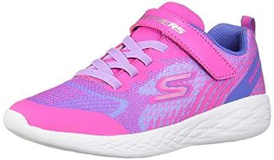 Skechers Kids Girls' GO Run 600-RADIANT Runner Sneaker, Blue/Multi, 13 Medium US Little Kid