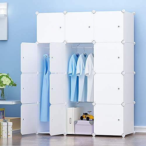 PREMAG Ideal Storage Organizer Cube Closet Portable Wardrobe Combination Armoire, Modular Cabinet for Space Saving, White(12-Cube)