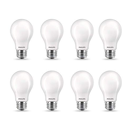 Philips LED Flicker-Free A19 Light Bulb, EyeComfort Technology, Dimmable Warm Glow Effect, 450 Lumen, 2700-2200K, 5W=40W, E26 Base, Title 20 Certified, 8-Pack