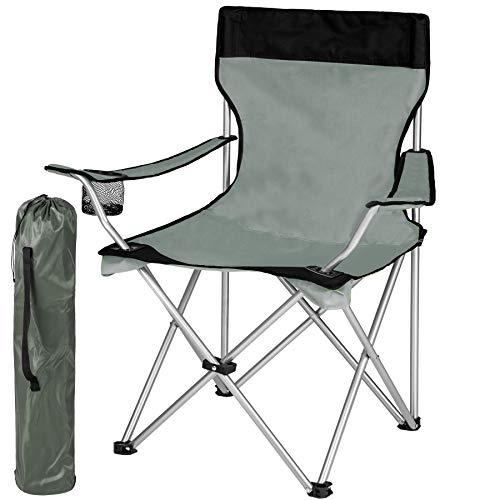 TecTake Silla de Camping Plegable + Portabebidas + Práctica Bolsa de Transporte...