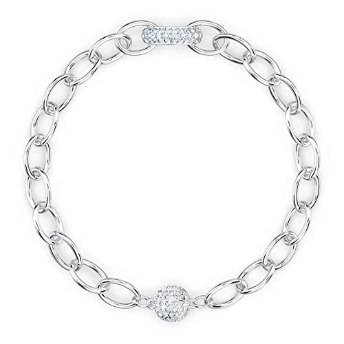 Swarovski The Elements Chain 5572655 - Pulsera (rodiada, 18,7/0,9 x 1,2 cm), color blanco