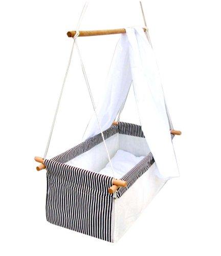 Baby Schaukel Hängewiege Hängematte Wiege Stubenwagen Komplett-Set mit Seilen Himmelstange Himmel und Wäscheset GRAU