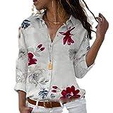 Hoodies - Camisa de manga larga para mujer, elegante para otoño, con estampado de cuello en V, muselina de...