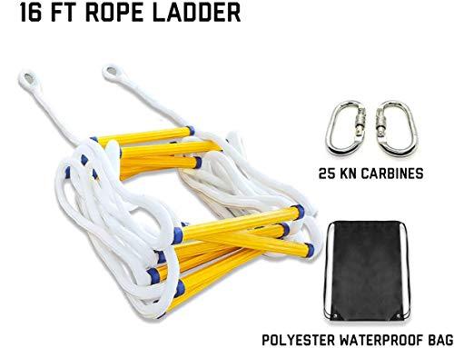 Reusable Flame Resistant Safety Rope Ladder With Hooks for Children and Adults Escape from Window and Balcony 10M Emergency Fire Escape Ladder