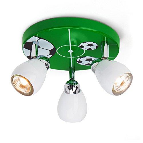 Soccer Deckenleuchte mit 3 Spots, Ø 31 cm, inkl. Halogen 3x GU10 50W, Metall, grün