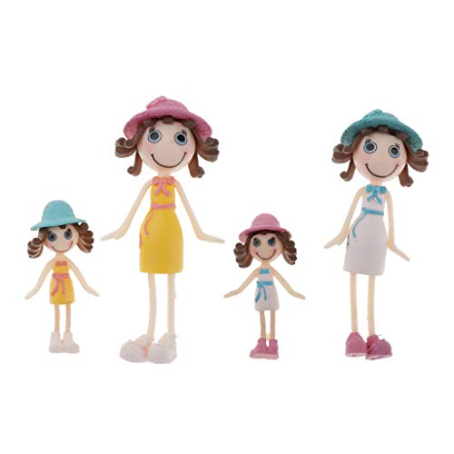 Colcolo Juego de 4 1:12 Escala Casa de Muñecas Minaiture People Girl Doll Room Decor