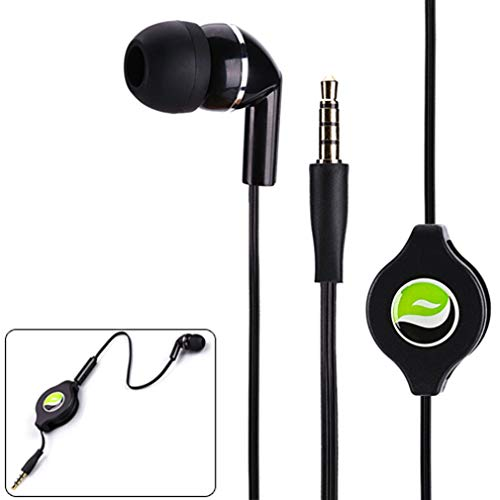 Headphone Retractable Mono Earphone 3.5mm w Mic Headset Handsfree...