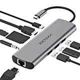 USB C Hub ZOETOUCH 9 Ports USB Type C Adapter Docking Station mit HDMI 4K,Gigablit Ethernet RJ45,3...